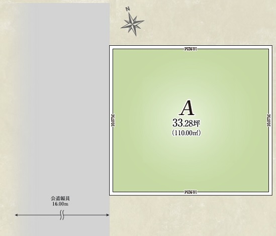 【全体区画図】 整形地ですので土地全体を有効活用することができます。